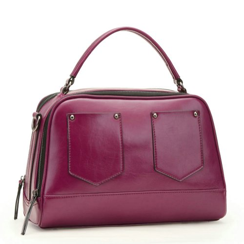 Ilishop Women's Purple Genuine Leather Handbag Tote