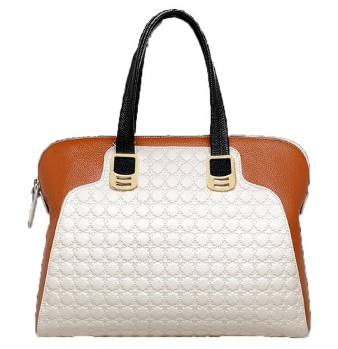 Ilishop Women's White Genuine Leather Handbag Tole