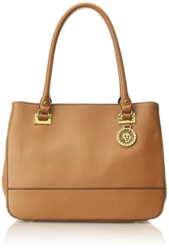 Anne Klein New Recruits Satchel LG Bag, Cognac, One Size