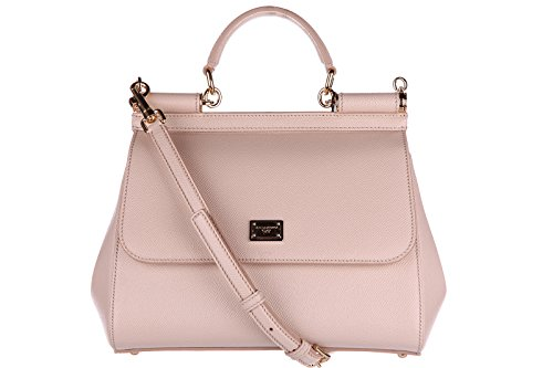Dolce&Gabbana women's leather handbag shopping bag purse sicily beige