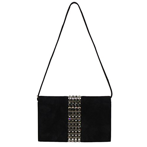 Gucci Broadway Black Suede Evening Clutch Bag with Crystal Studs 371929