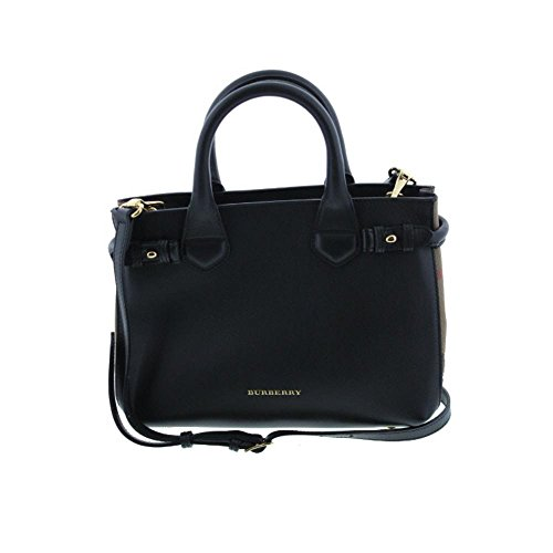Burberry Small Banner House Check Black Leather Ladies Tote 3964267