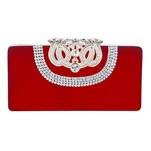 Mlotus Womens Crown Rhinestone Clasp Evening Clutch Bag with Detachable Chain