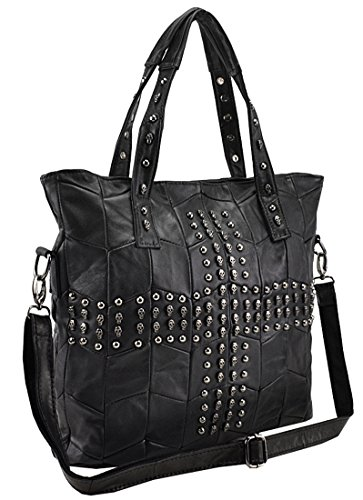 Heshe® Soft Ol Leather Sheepskin European & America Fashion Girls Style Casual Skull Studded & Rivets Punk Evil Retro Organizer Fashion Hobo Tote Top Handle Shoulder Cross Body Zippered Bag Messenger Satchel Purse Women's Handbag