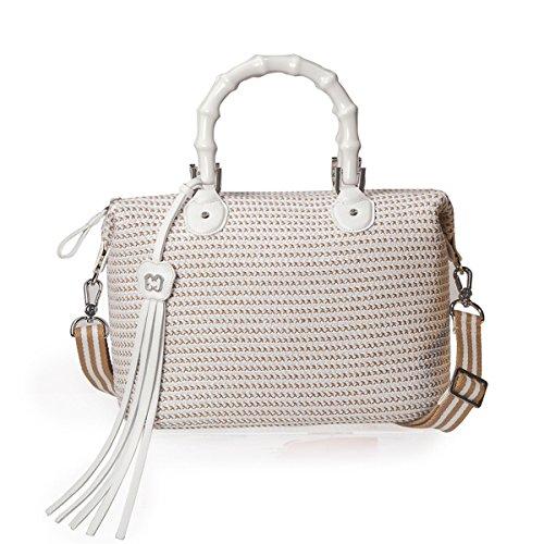 Eric Javits Designer Women's Handbag Squishee Capri Bag (White Mix)