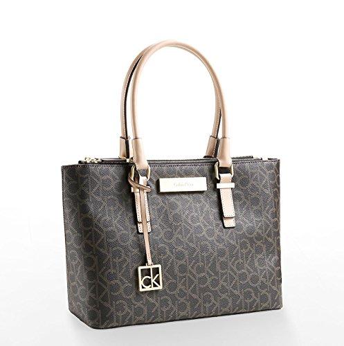 Calvin Klein Womens Jordan Double Zip Carry All Signature Bag