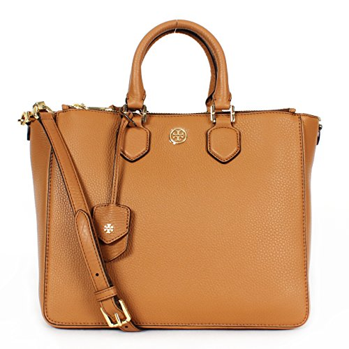Tory Burch Robinson Pebbled Leather Square Tote Tigers Eye