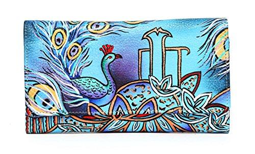 Dancing Peacock Ladies Clutch Wallet Hand Painted Leather vintage handmade item