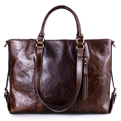 AINIMOER Urban Style Women's Genuine Leather Large Multifunctional Shoulder Strap Tote Bag Handbag