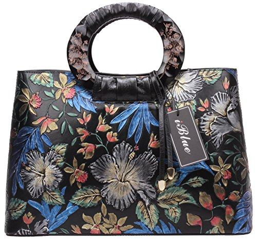 Genuine Leather Top Handle Handbags,Iblue Women Designer Messenger Shoulder Bag 15in #W001
