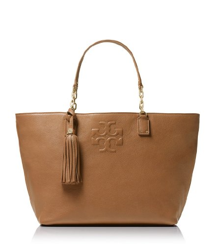 Tory Burch Thea Leather Fringe Large Tote In Royal Tan