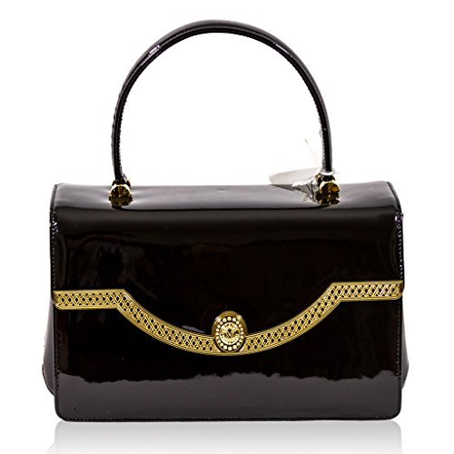 Valentino Orlandi Italian Designer Black Patent Leather Purse Top Handle Bag