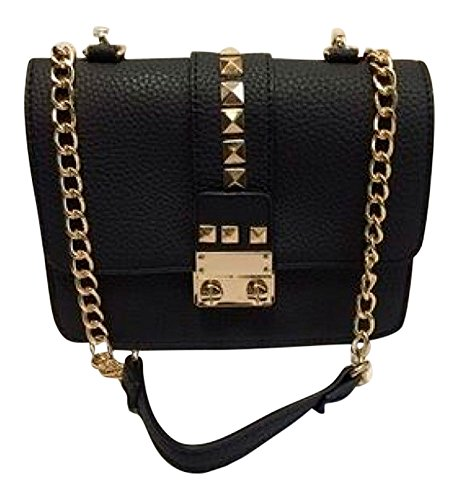 BCBG PARIS STUDDED CAVIAR CROSSBODY BLACK