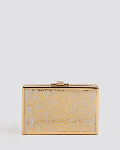 Halston Heritage Gold Clutch Box Minaudiere Evening Bag