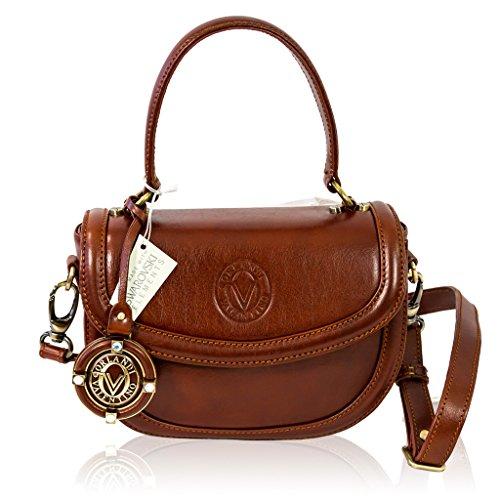 Valentino Orlandi Italian Designer Cognac Vachetta Leather Purse Crossbody Bag
