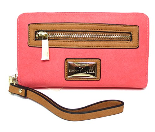 Noelle Vegan Faux Leather Colorful Zippered Wristlet Wallet in Coral