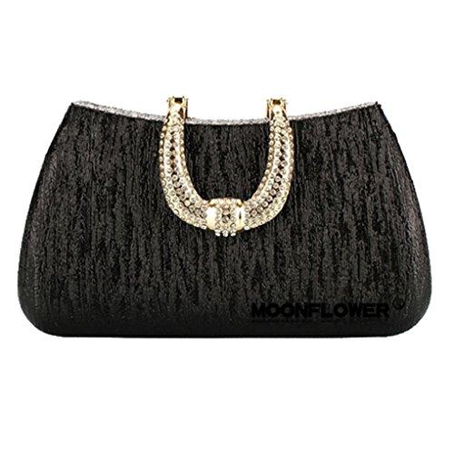 Smartstar Glamour Rhinestone Hard Case Evening Wedding Party Clutch Purse Wallet – Black