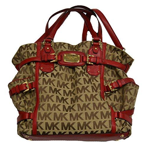 Michael Kors Gansevoort LG NS Tote Handbag Shoulder with Adjustable Strap in Beige & Red