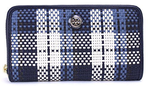 Tory Burch Robinson Woven Plaid Accordian Wallet (Navy/White)