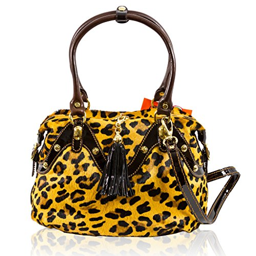 Marino Orlandi Italian Designer Cheetah Haircalf Leather Purse Crossbody Bag