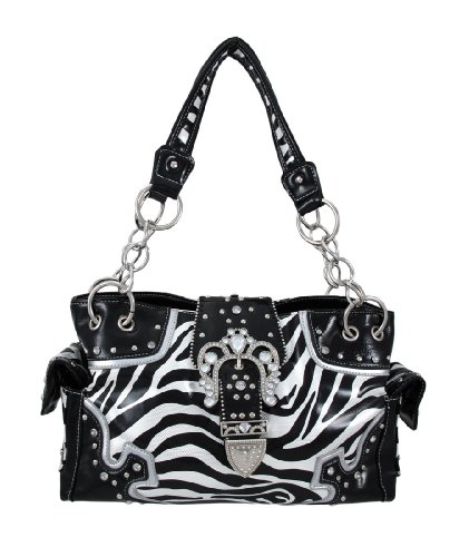 Rhinestone Studded Zebra Purse with Ornate Buckle