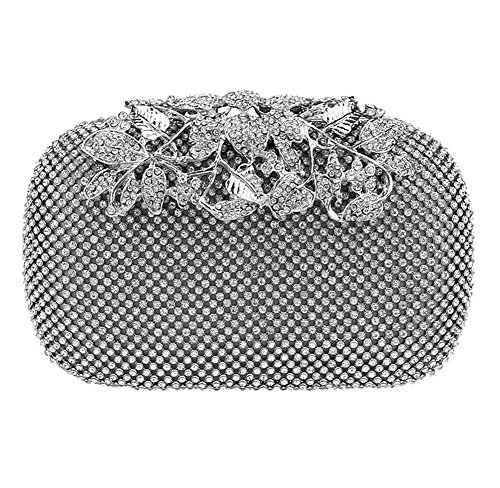Mlotus Rhinestones Crystal with Flower Clasp Cocktail Evening Bag Clutch Handbags