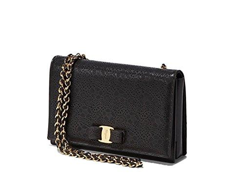 Salvatore Ferragamo Ginny Black Lace Leather Crossbody Shoulder Bag Vara