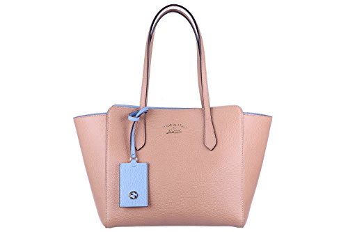 Gucci women's leather handbag tote shopping bag purse swing beige