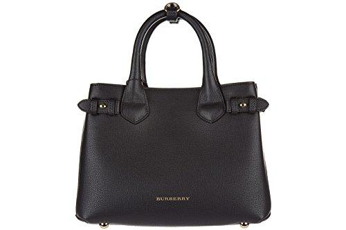 Burberry women's leather handbag shopping bag purse banner black