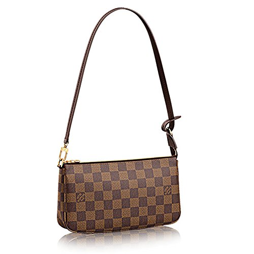 Authentic Louis Vuitton Damier Ebene Canvas Shoulder Bag Clutch Handbag Pochette Accessoreis NM Article: N41206 Made in France