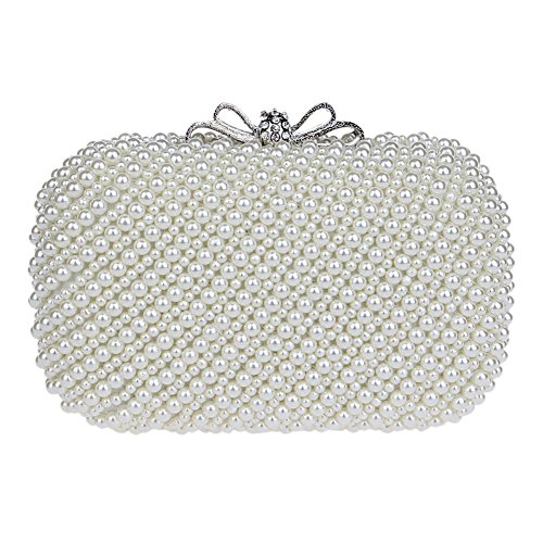 Mlotus Women's Crystal Pearl Wedding Evening Bag Formal Cocktail Clutch Purse
