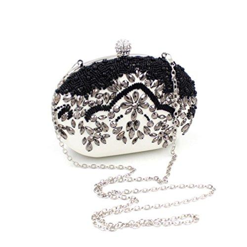 Mygoodie women's Clutch Bag Pearl Beaded Party Bridal Handbag Wedding Evening Purse