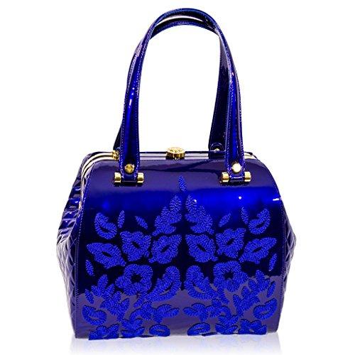 Valentino Orlandi Italian Designer Cobalt Blue Embroidered Leather Jeweled Bag