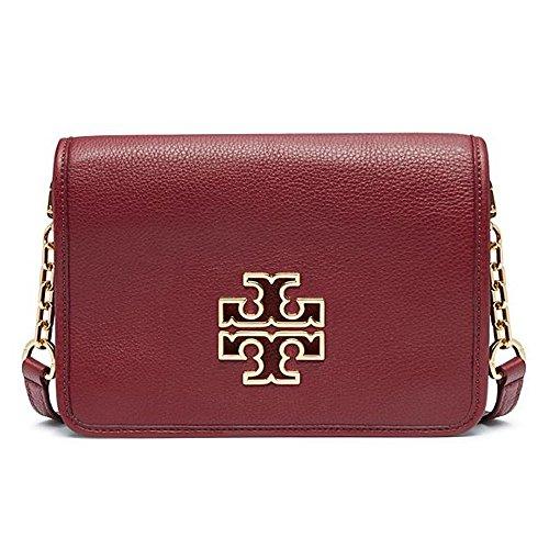 Tory Burch Thea Britten Crossbody Bag Clutch Leather Red Agate