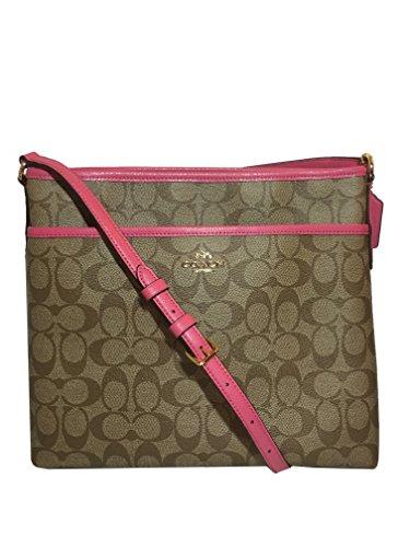 Coach Signature File Crossbody Bag – Khaki/Dahlia