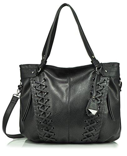 Jessica Simpson Tyson Whipstitch Tote Shoulder Bag, Black