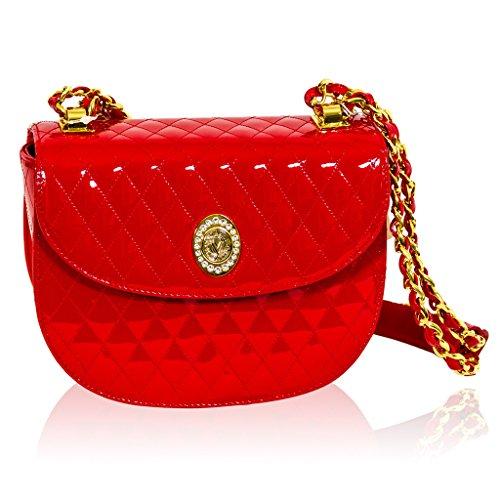 Valentino Orlandi Italian Designer Red Quilted Leather Purse Crossbody Bag