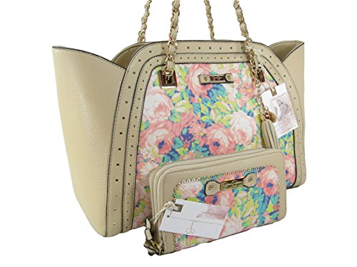 New Jessica Simpson Logo Satchel Purse Bag & Matching Wallet Set 2 Piece Floral