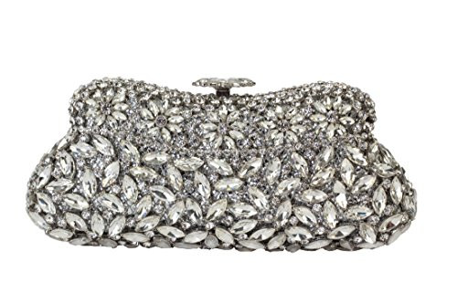 Yilongsheng Ladies Pearl Flower Clutch Bags Evening Party Handbags with Shiny Crystal Diamonds (Silver)