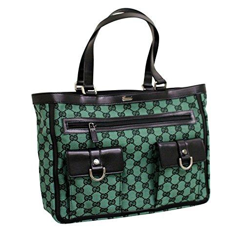 Gucci Green Canvas Abbey Tote Bag Handbag 272391