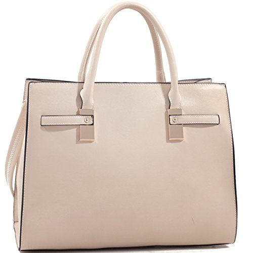 Dasein Structured Faux Leather Gold-Tone Satchel Shoulder Bag
