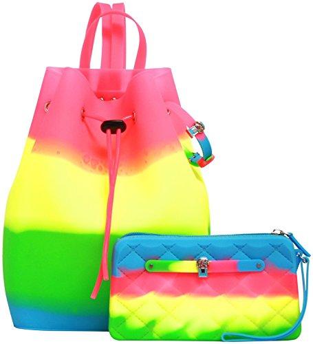 Yummy Gummy Yummy Gummy Gummy Wristlet & Bucket Backpack With Jewel, Pink Tie Dye, One Size