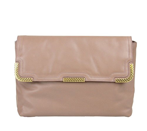 Bottega Veneta Pink Leather Gold Metal Detail Clutch Bag 325679 6322