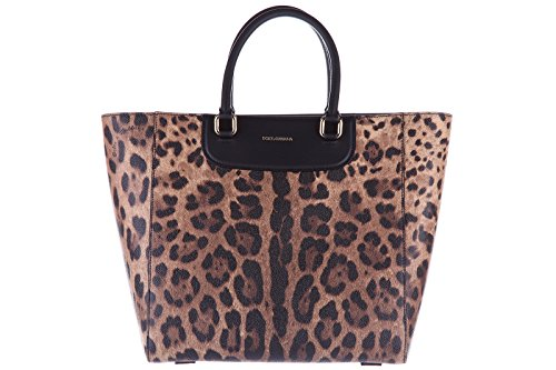 Dolce&Gabbana women's leather handbag shopping bag purse leo brown