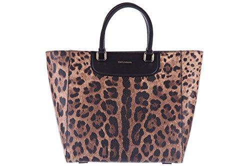 Dolce&Gabbana women's leather handbag shopping bag purse leo brown