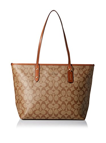 Coach Signature City Zip Tote – Khaki/Saddle