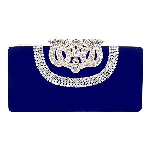 Mlotus Crystal Crown Clasp Evening Handbag Clutch with Detachable Chain