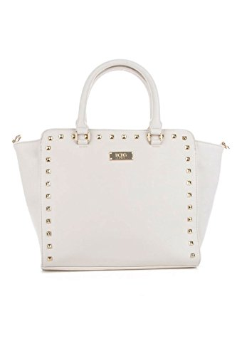 BCBG Paris Square Stud Tote Shoulder Handbag, Stone Cream