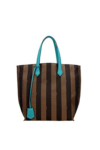 Fendi Genuine Authentic 'All In' Pequin Striped Canvas Turquoise Leather Trim Shopper Tote