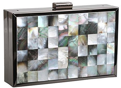 Beaute Bags Artisan Genuine Mother of Pearl Box Frame Hard Shell Clutch Evening Bag with Detachable Chain Shoulder Strap